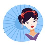 Vector set of Japanese geisha girls Piirros