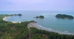 High Aerial Pan Shot of Koh Phrathong on Thailand's Andaman Coast Stock Footage
