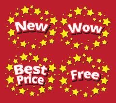 Starbursts set sale banner promotion set Stock Illustration