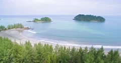 Deserted Tropical Beach on Thai Island in The Andaman Sea, Aerial Approach Shot Stock Footage
