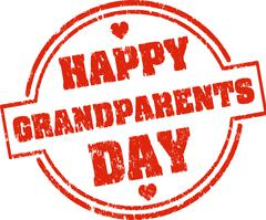 Happy grandparents day red grunge style rubber stamp with hearts Stock Illustration