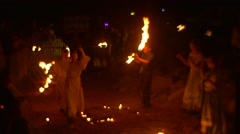 People Celebrate Festival of Fire and Dance Stock Footage