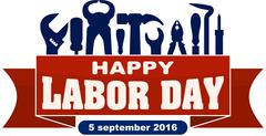 Happy labor day celebrating banner with silhouettes of workers tools: hammer, Stock Illustration