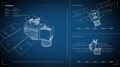 Looping, animated orthographic engineering blueprint of ICESat spacecraft.  Stock Footage