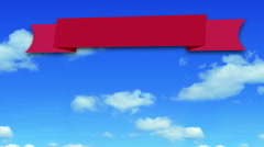 Red banner on passing clouds background Stock Footage