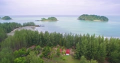 Unspoilt Coastline on Pra Thong Island in the Andaman Sea, Thailand, Aerial Shot Stock Footage