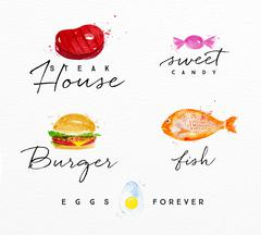 Watercolor label burger Stock Illustration