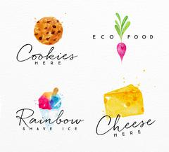 Watercolor label cheese Stock Illustration