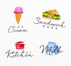 Watercolor label sandwich Stock Illustration