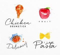 Watercolor label pasta Stock Illustration