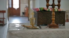 Russian orthodox church in baptism slow motion video Stock Footage