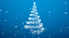 Rotating christmas tree shape with stars - blue variant Stock Footage