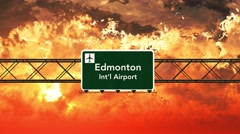 4K Passing Edmonton Airport Canada Highway Sign in the Sunset Stock Footage