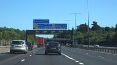 Pov driving shot M25 Heathrow London England Stock Footage