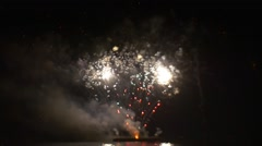 Firework is Gleaming Grand Pyrotechnics Show Noise Light Smoke Celebration in a Stock Footage