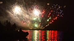 People on the Boat Are Admiring the Firework Grand Pyrotechnics Show Noise Stock Footage