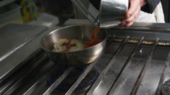 Cooking slowmotion in a restaurant Stock Footage