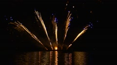 Fireworks in the Fan Shape Expensive Fire Show Event in a Big Way Celebration Stock Footage