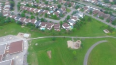 Arial Pan to Baseball Diamond in Suburbs Stock Footage