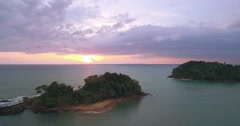 Sunset Over Small Islands in the Andaman Sea, Pullback Reveal Shot Stock Footage