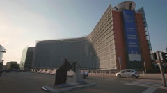 Berlaymont office building European Commission Union EU Brussels Belgium sunny Stock Footage