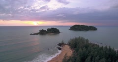 Small Islands Off The Coast Of Prathong  in Thailand At Sunset,  Pullback Shot Stock Footage