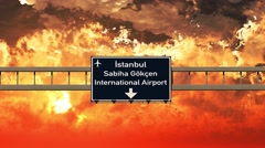 4K Passing Istanbul Gokcen Airport Turkey Highway Sign in the Sunset 2 Stock Footage