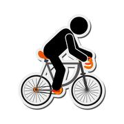 person riding bike icon - stock illustration