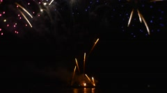 Firework Sparks Are Shooting and Flying in Sky Forming Complicated Patterns Stock Footage