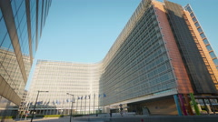 Berlaymont European Union building exterior flags facade EU Commission Brussels Arkistovideo