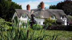 Old English thatched house in front of mill pool Stock Footage