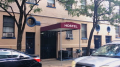 City Hostel Building Establishing Shot Stock Footage