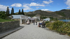 New Zealand Old Cromwell town overview in sun Stock Footage