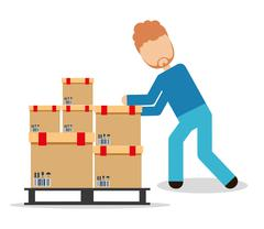 Box package man delivery shipping icon. Vector graphic Stock Illustration