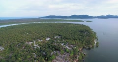 Flat Interior of Koh Phra Thong in Thailand, Aerial Pan Shot Stock Footage