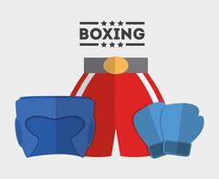 glove boxer helmet boxing sport design - stock illustration