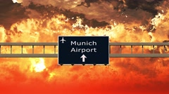 4K Passing Munchen Airport Germany Highway Sign in the Sunset 4 Stock Footage