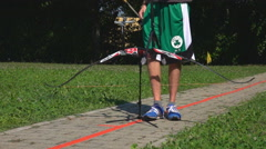 Target Archery: Young Archer Shoots Arrow, Slow Motion Stock Footage