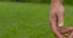 Give me a hand - A father and son holding hands on nature Stock Footage
