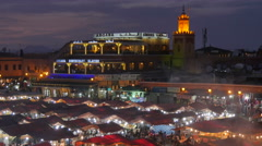 Jemaa el-Fnaa the bigger square of Marrakesh in Morocco Stock Footage
