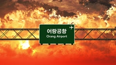 4K Passing Orang Airport North Korea Highway Sign in the Sunset 2 Stock Footage
