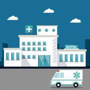 hospital ambulance building design - stock illustration