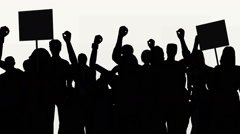 Group of people protesting in silhouette Stock Footage