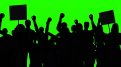 Gruop of people in silhouette protesting on a green screen Stock Footage