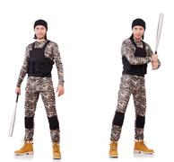 Soldier with bat isolated on the white background Stock Photos