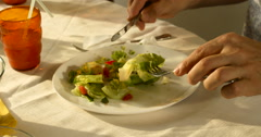 Someone eating healthy food, salad with fresh vegetables, close up Stock Footage