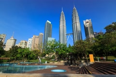 Timelapse of Kuala Lumpur City Centre Fountain Park Stock Footage