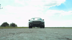 View from road of car bottom riding on road Stock Footage