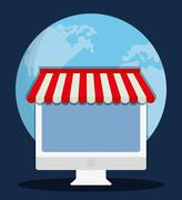 Computer shopping online store market icon. Vector graphic Stock Illustration