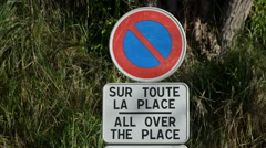 No parking sign in Roussillon, Vaucluse, France Stock Footage